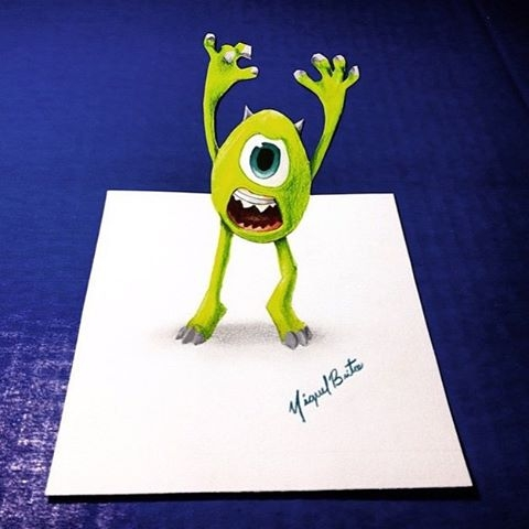 10-Monsters-Inc-Mike-Wazowski-Miguel-Brito-3D-Illusions-with-Drawings-and-Illustration-www-designstack-co