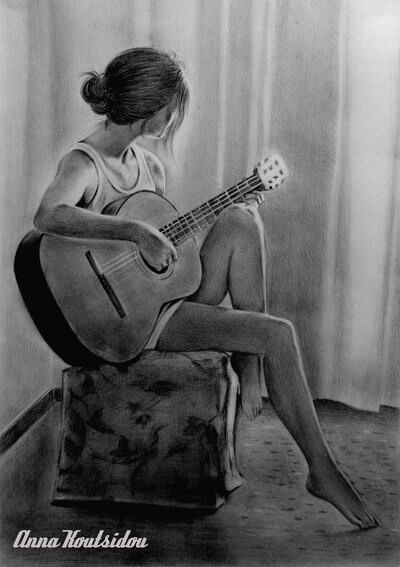 20 Mind-Blowing Pencil Drawings By Greek Artist That Illustrate The Beauty Of Love - I can feel the music flowing through my veins