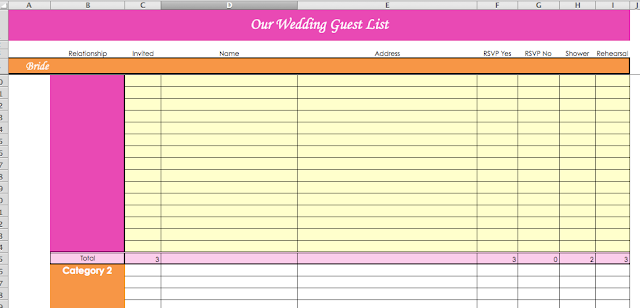 Laura's Plans: Wedding planning excel spreadsheet templates for budget and guest list including RSVPs