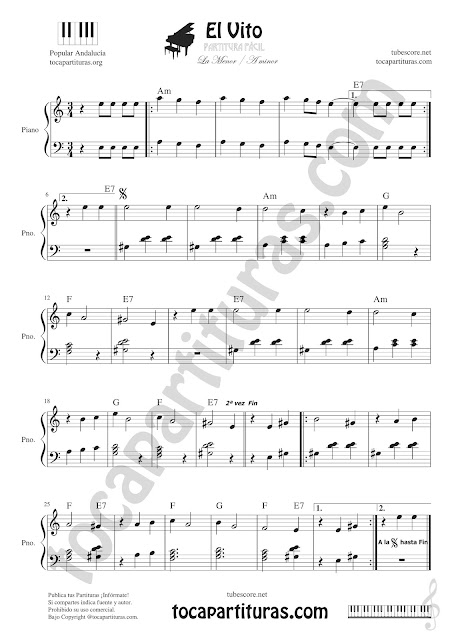 El Vito Partitura de Piano Fácil en La menor Easy Sheet Music for Piano A minor