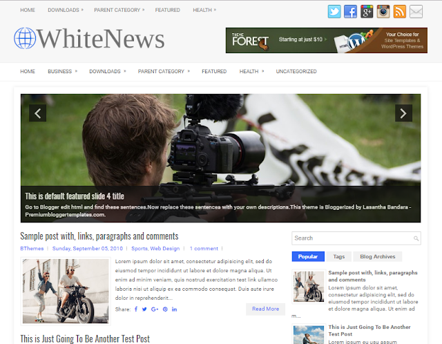 WhiteNews Blogger Template