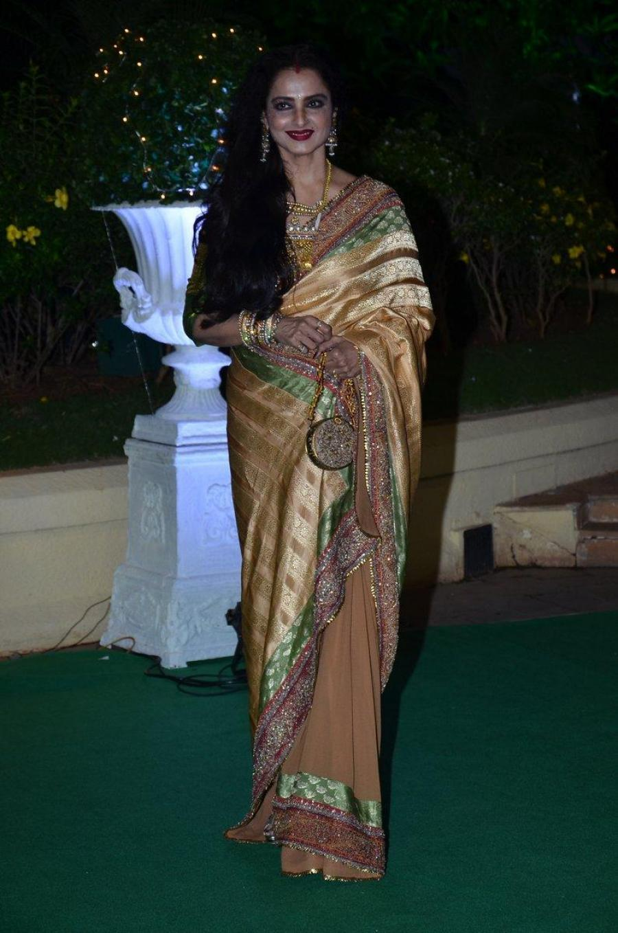 Rekha Ganesan Photos At Wedding Reception In Yellow Saree