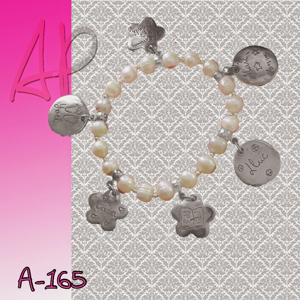 08961c99cc88 A-165 Pulsera de perlas y plata para mamás y abuelas