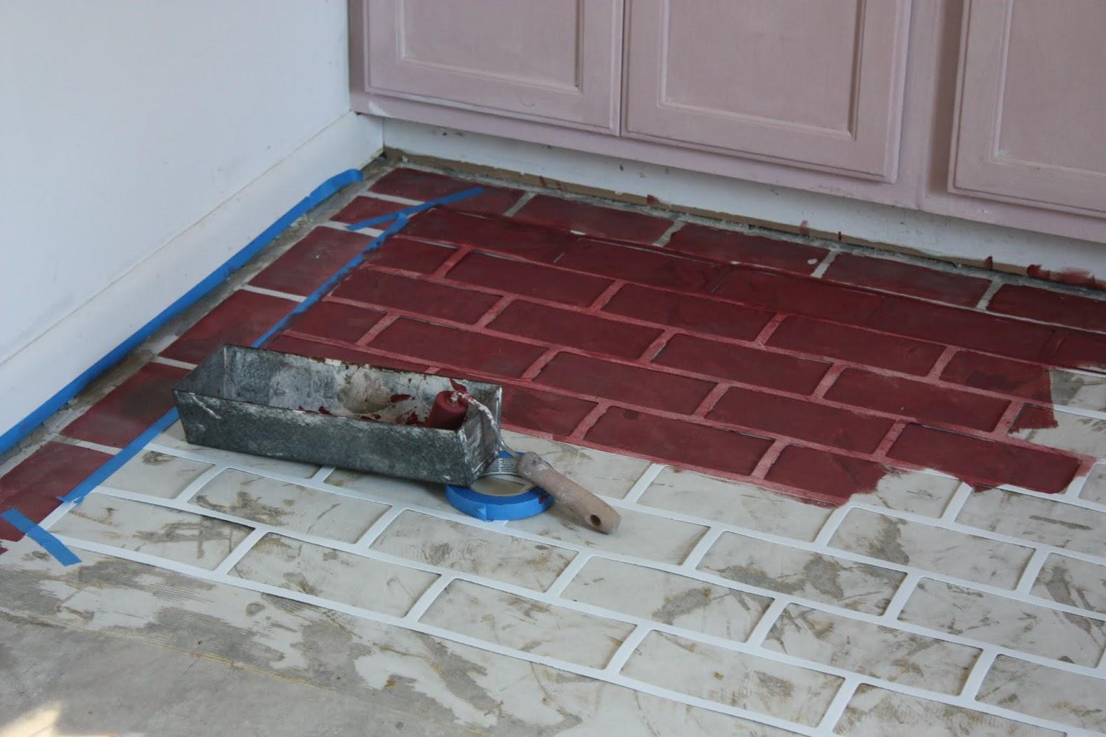 how to paint a faux brick floor on concrete