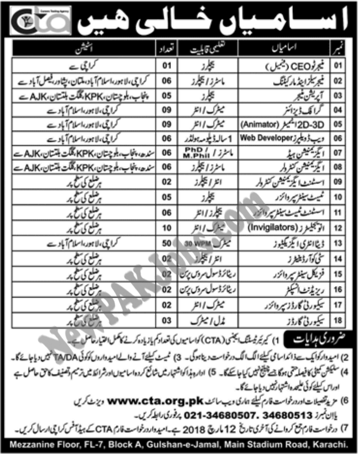 Jobs in CTA, Carrier Testing Agency 2018 for All Pakistanis