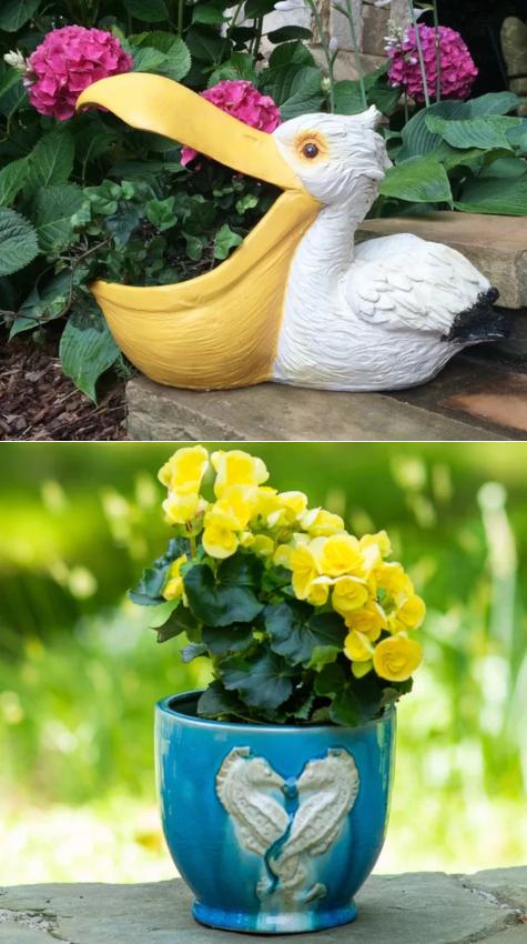 Seahorse and Pelican Garden Planter