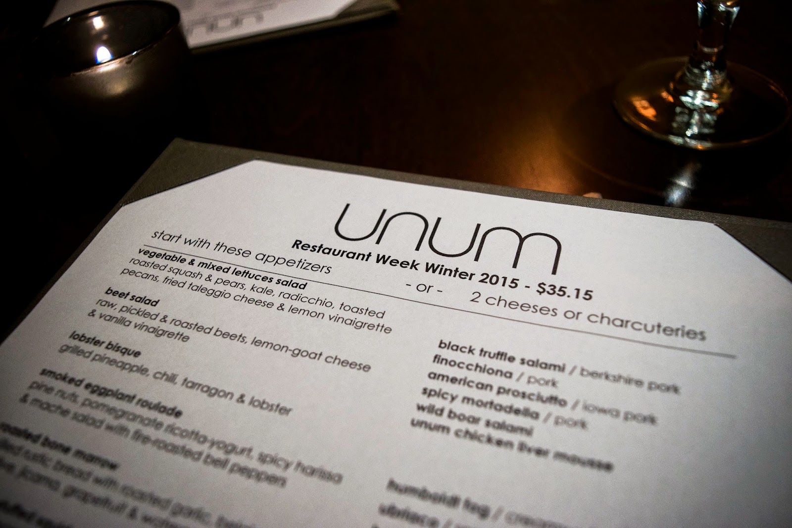 Unum Dc Restaurant Week Menu