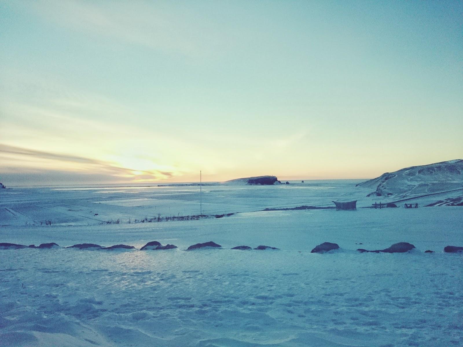 Islandia, słońce, niebo, wschód słońca, zima