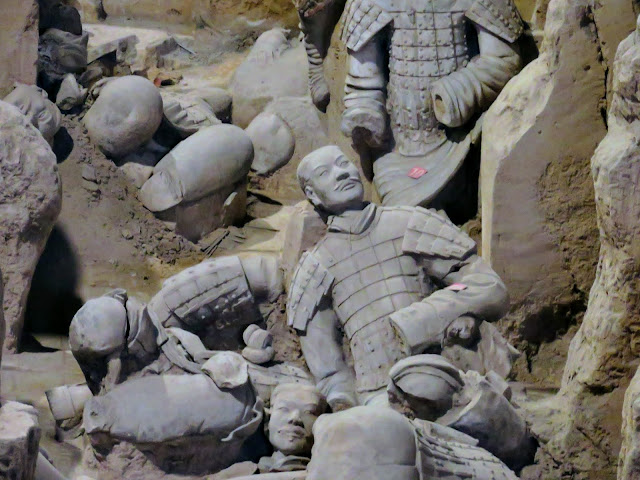 Broken pieces of warriots in pit 2 of the Terracotta Army near Xi'an China