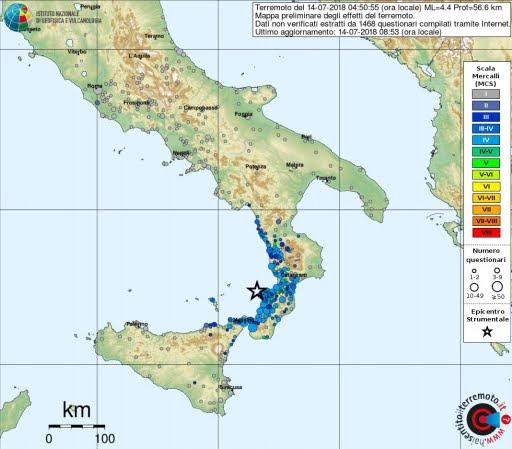 INGV Terremoti spiega il Terremoto in Calabria del 14 luglio