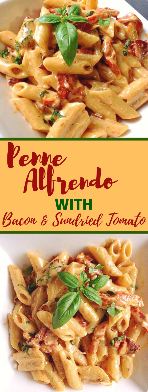 Penne Alfredo with Bacon and Sundried Tomato #Bacon #Dinner