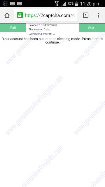 2Captcha mobile interface