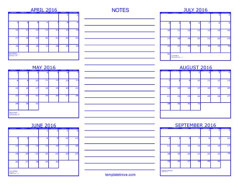 Printable Calendar 2016, July August September Printable Calendar 2016 ...