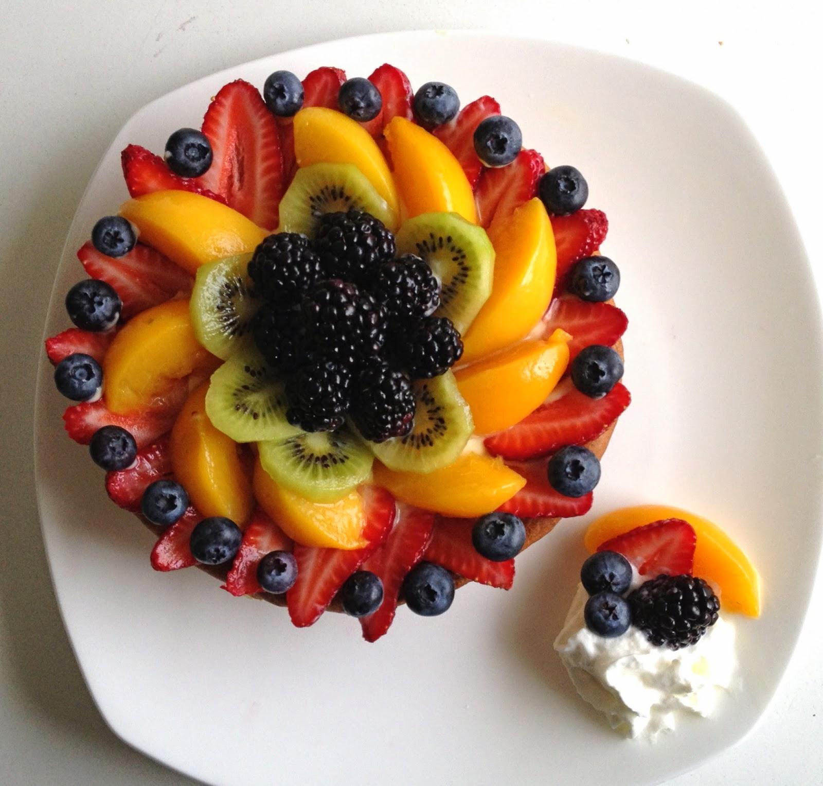 Homemade Fresh Fruit Tart With Vanilla Custard Pastry Cream