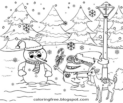 Cute frosty Snowman winter scenery merry Christmas Minion printable pages ace things to draw at xmas