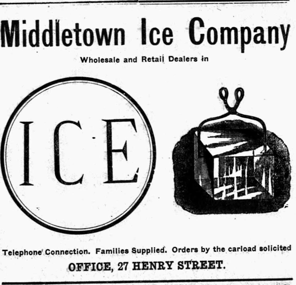 Middletown Ice Company 1915 Advertisement, Middletown City Directory