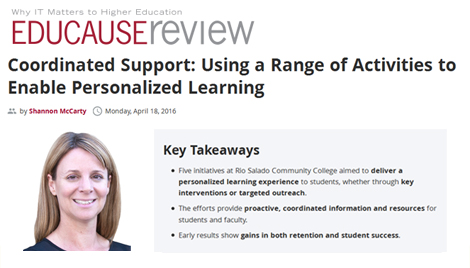 snapshot of EDUCAUSE Review web page, with photo of Dean McCarty