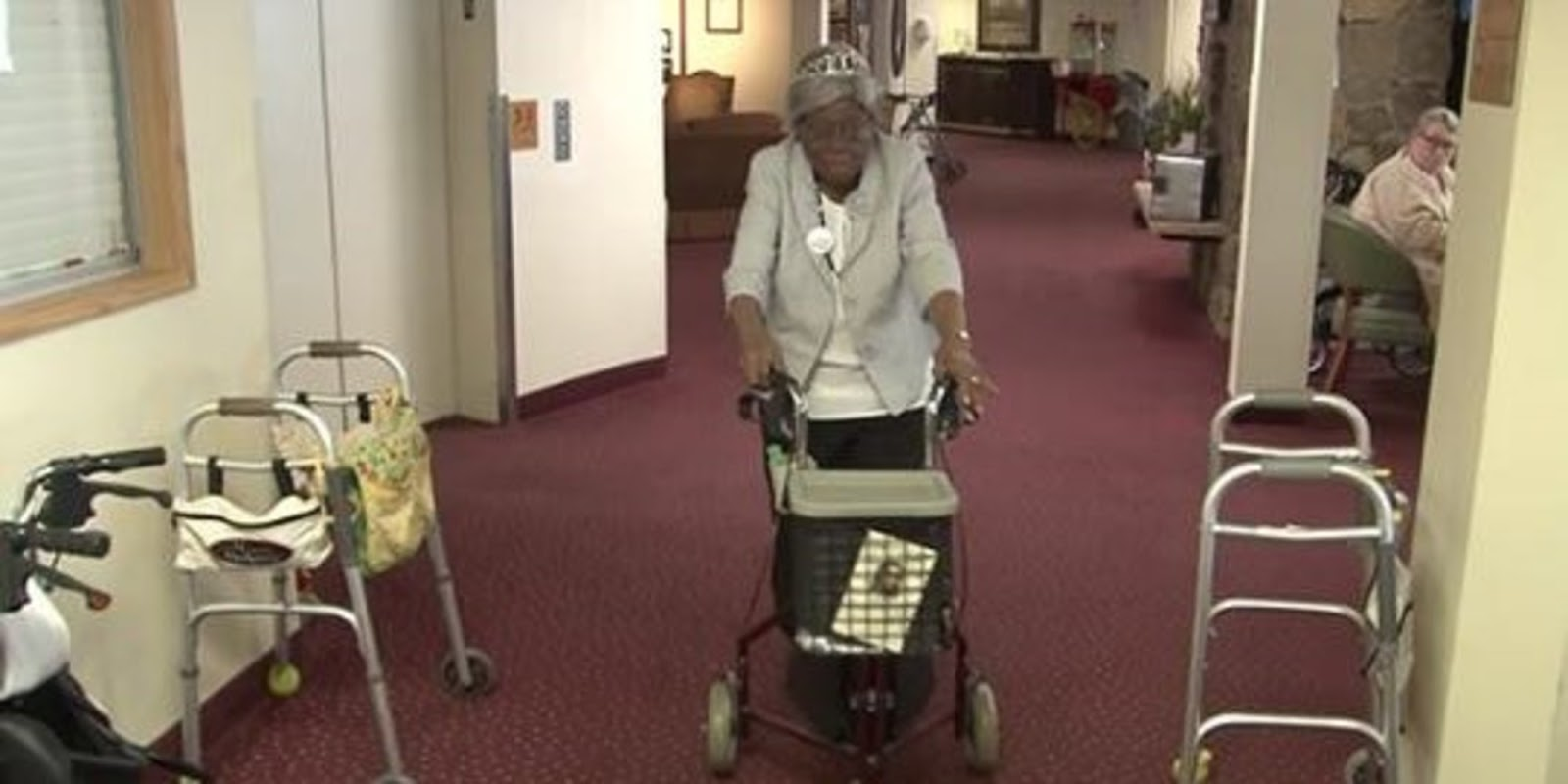 Woman Celebrates Her 100th Birthday By Running Down Her Living Center's Hall