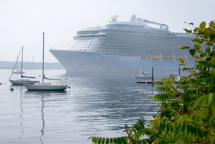 "Portland, Maine USA September 2017 photo by Corey Templeton. The impressively large ""Anthem of the Seas"" docked at Ocean Gateway last weekend."