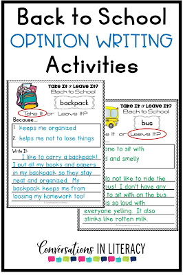 Back to School Writing Activities Take It or Leave It Opinion Writing