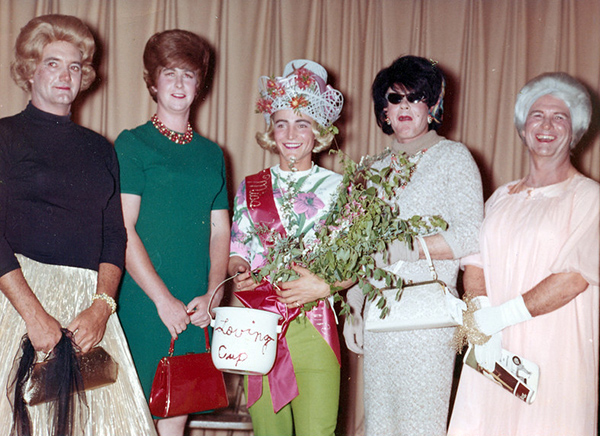 Old school womanless beauty pageant, circa 1960.