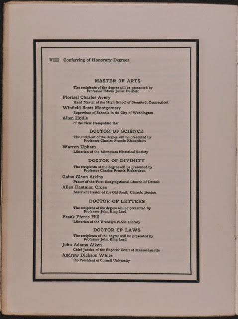A page from the program listing Montgomery as a Master of Arts.