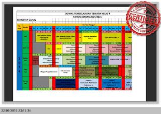 JADWAL PEMBELAJARAN KELAS 1, 2, 4, 5 KURIKULUM 2013 EXCEL TERBARU