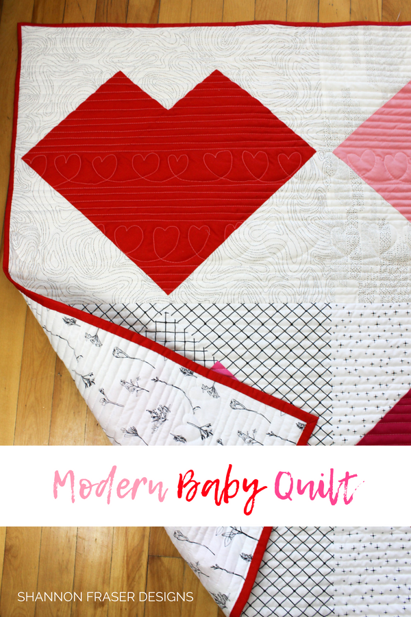 Modern Heart Baby Quilt | Modern Sewcialites BOM Blog Hop | Shannon Fraser Designs | Art Gallery Fabrics | Sulky Threads | Hobbs Batting