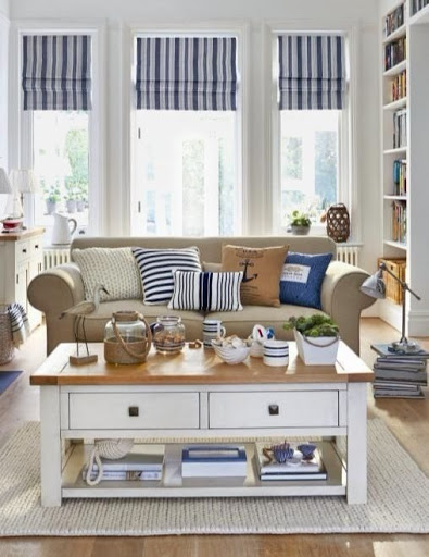 Nautical Living Room Design with Beige, Blue and White