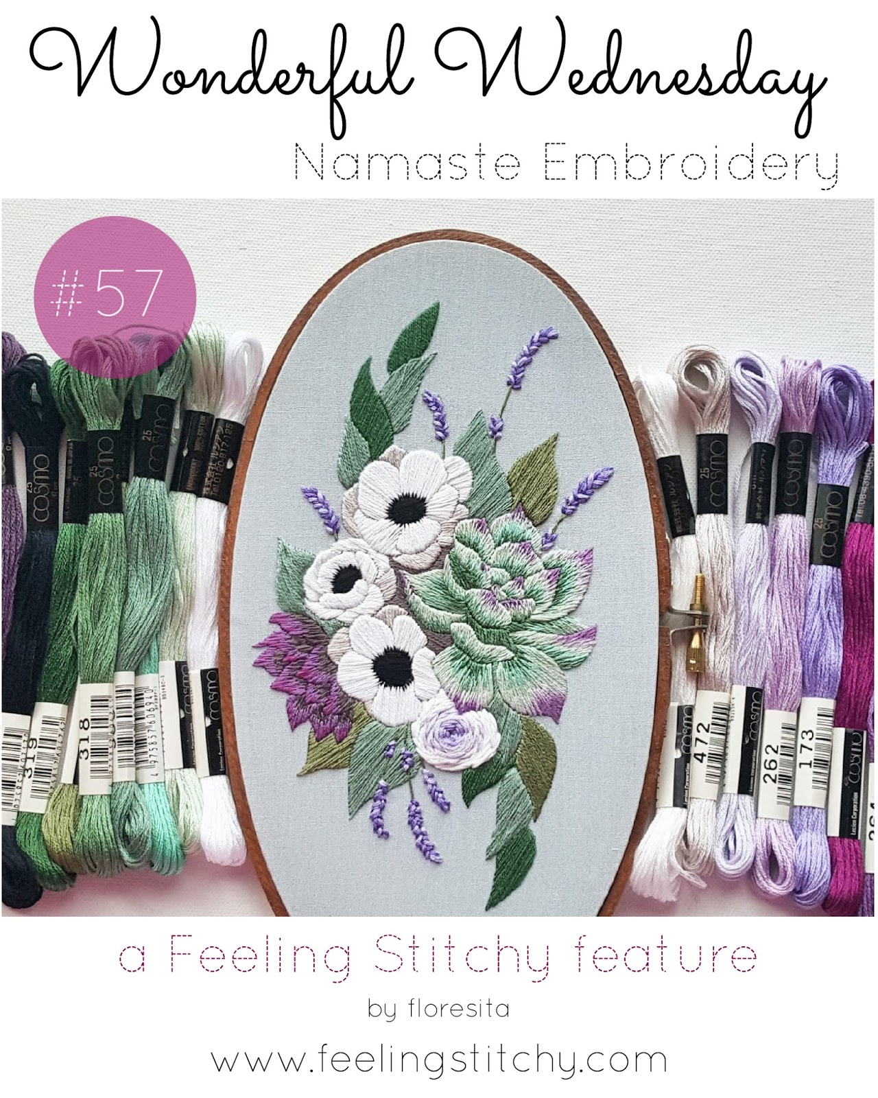 Wonderful Wednesday 57 - Namaste Embroidery, featured on Feeling Stitchy by floresita