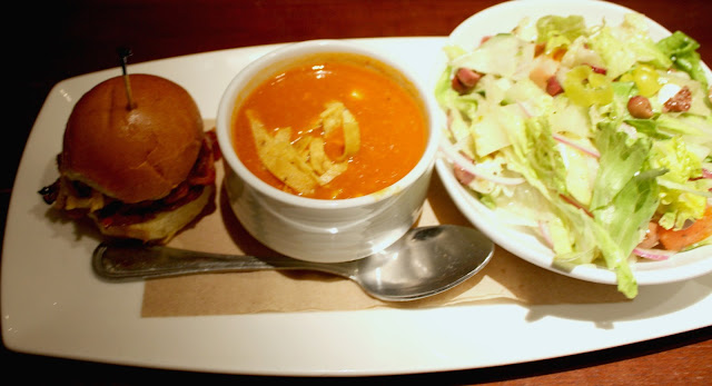 Sandwich, salad and soup combo at The Happ Inn