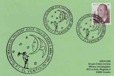 Tarjeta del matasellos de la XXIII Semana del Folclore Astur del Ventolín de Siero, dedicada a la luna y la cultura
