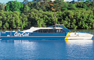 picture of blue yellow and white citycat ferry on brisbane river
