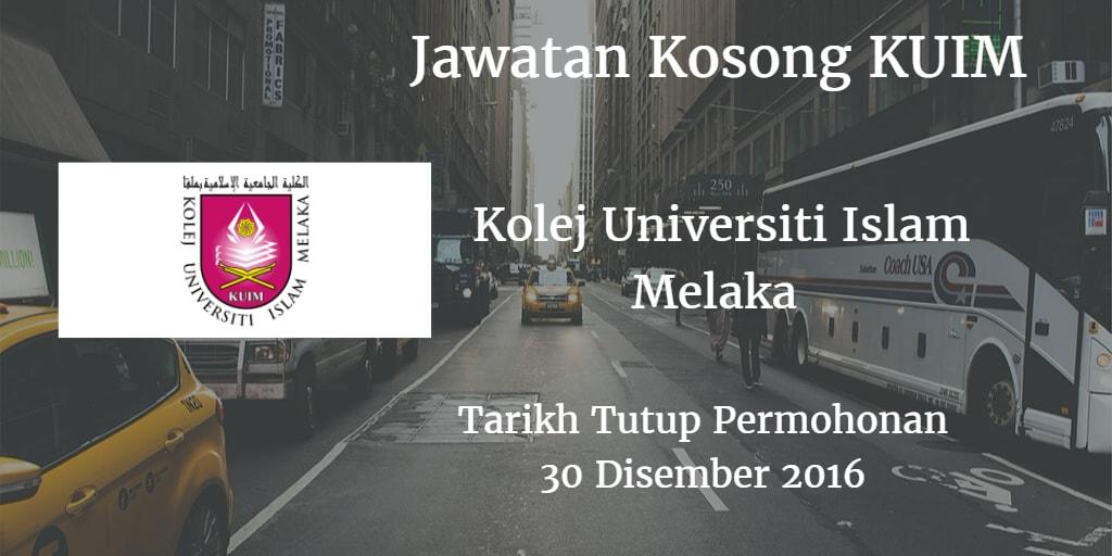 Jawatan Kosong KUIM 30 Disember 2016