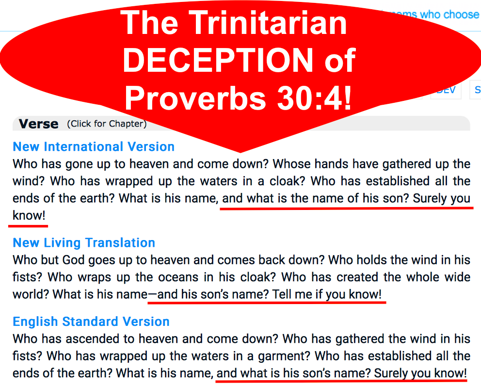 The Trinitarian DECEPTION of Proverbs 30:4!