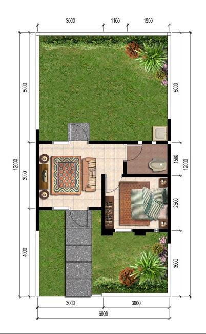 Denah Rumah Type 21 1 Lantai : denah, rumah, lantai, Denah, Rumah, Berukuran, Mungil