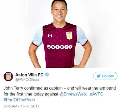 Former Chelsea Star, John Terry Named Aston Villa Captain for 2017/2018 Season