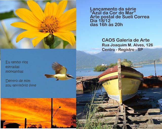 """Lançamento da série """"Azul da cor do mar"""" arte postal de Sueli Correa"""