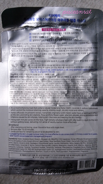 Dearberry Extreme Moisturizing Aquaful Ampoule Mask