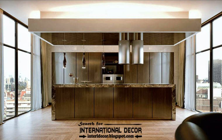 Stylish Art Deco kitchen interior design style and furniture, false ceiling