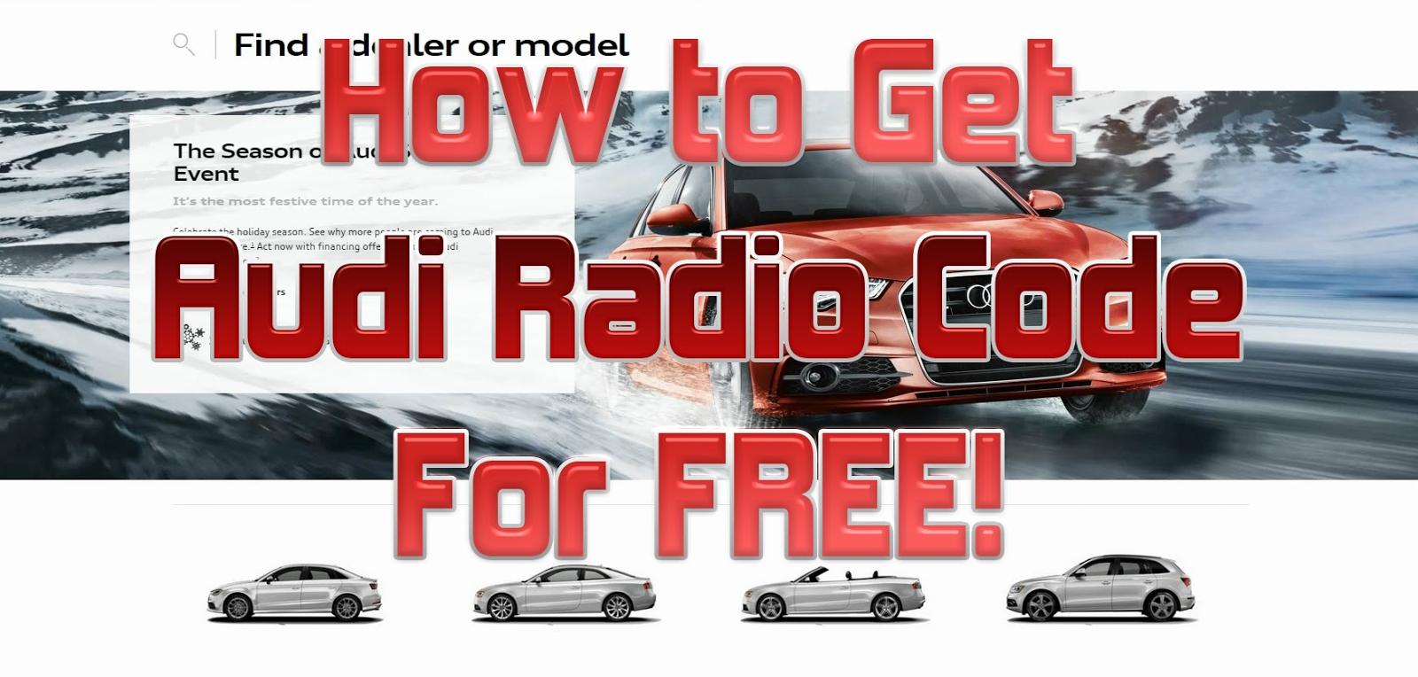 audi radio codes generator tool