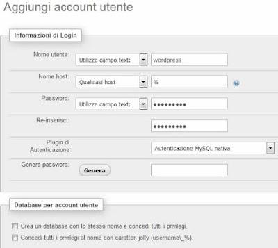 Creare un utente phpmyadmin login account