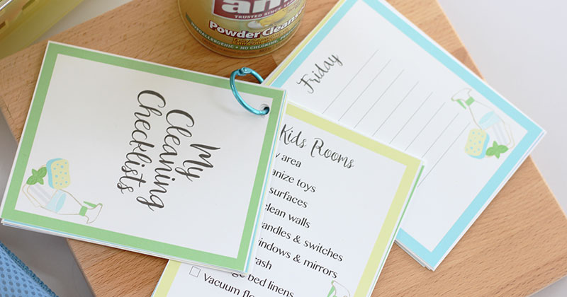 Free Printable Cleaning Checklist Cards for Your Whole Home