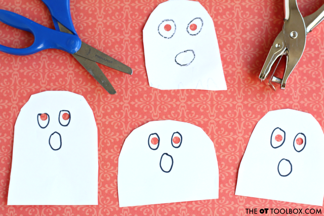 Use this ghost craft to work on scissor skills and other fine motor skills, perfect for a halloween craft or ghost theme in occupational therapy activities.