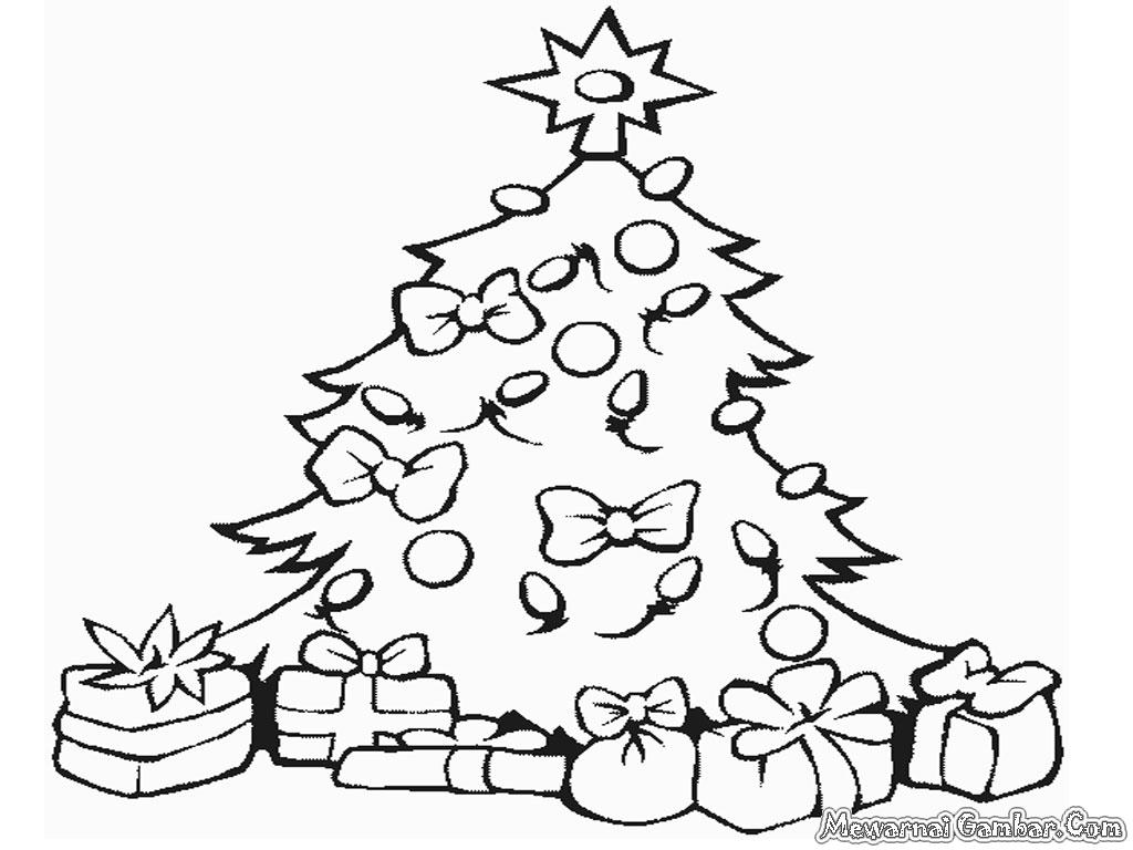 Gambar Mewarnai Pohon Natal