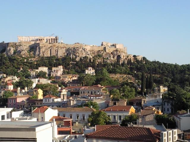 The spectacular view of the Acropolis from the AthenStyle rooftop bar