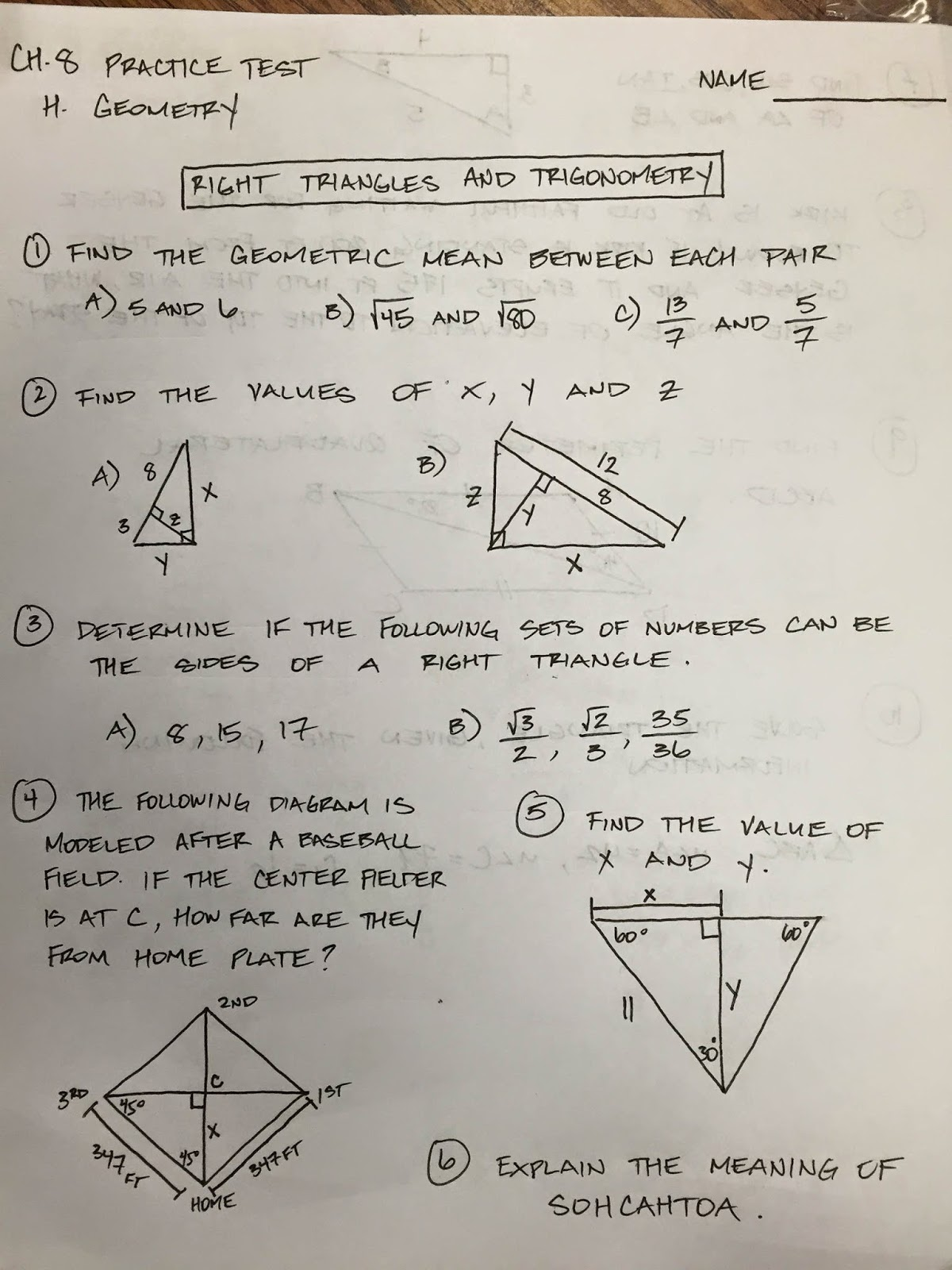 Honors Geometry - Vintage High School: Chapter 8 Practice Test