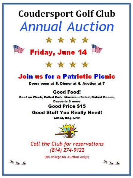 6-14 Coudersport Golf Club Annual Auction/Picnic