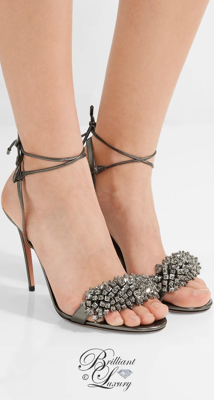 Brilliant Luxury ♦ Aquazzura Monaco Crystal-Embellished Metallic Leather Sandals