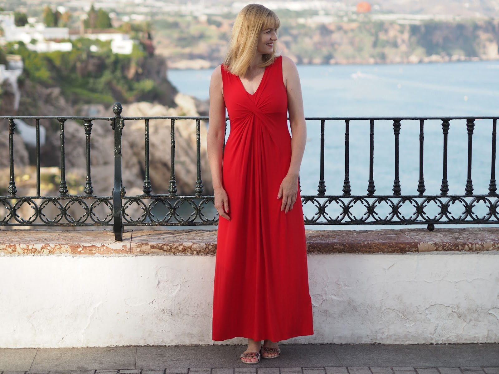 Accessorising a red maxi dress